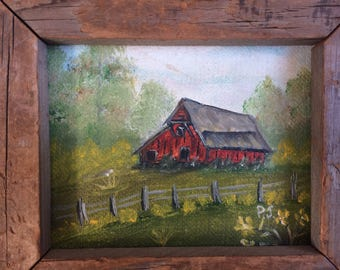 red barn original oil painting framed in barn wood