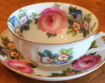 Saxe (Austria) | Paragon (England) Handpainted Floral Pattern Gold Trim China - Teacup and Saucer