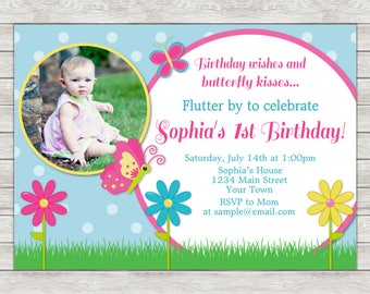 Butterfly Birthday Invitation, Pink Butterfly Invite - Printable File or Printed Invitations