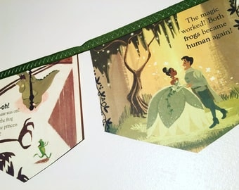 PRINCESS and the FROG TIANA little golden book storybook banner garland baby shower bunting disney nursery decor storybook banner childrens