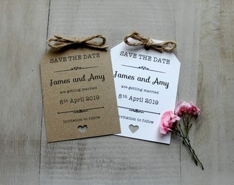 Personalised Wedding Save The Date Evening Vintage/Shabby Chic Rustic Luggage Tags