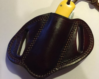CMEHolsters Slant Dark Brown Smooth Leather Knife Sheath