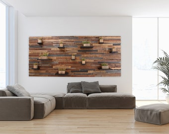 "Wood wall feature made with old reclaimed barnwood and random floating shelves , 96"" long x 42"" high, large wall art"