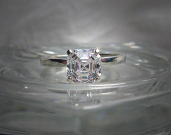 Warm White Swarovski Imperial Mosiac Asscher Cut 6mm Cubic Zirconia Sterling Silver Solitaire Ring Made to Order