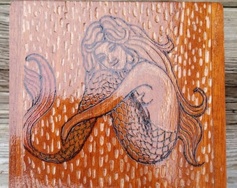 Upcyced cigar box. Wood burning mermaid