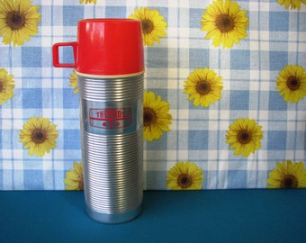 Vintage Thermos - Stainless Steel - Glass Insulated - Vacuum Bottle - Pint Size - King Seeley - 1960's
