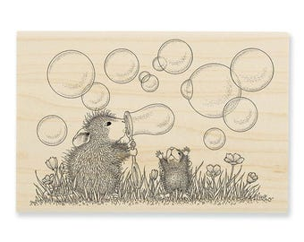 Stampendous House Mouse Blowing Bubbles Rubber Stamp
