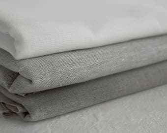 Pure linen Fabric. Natural white and grey colors  200g/m weight