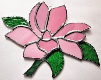 Stained Glass Pink Magnolia Flower Suncatcher