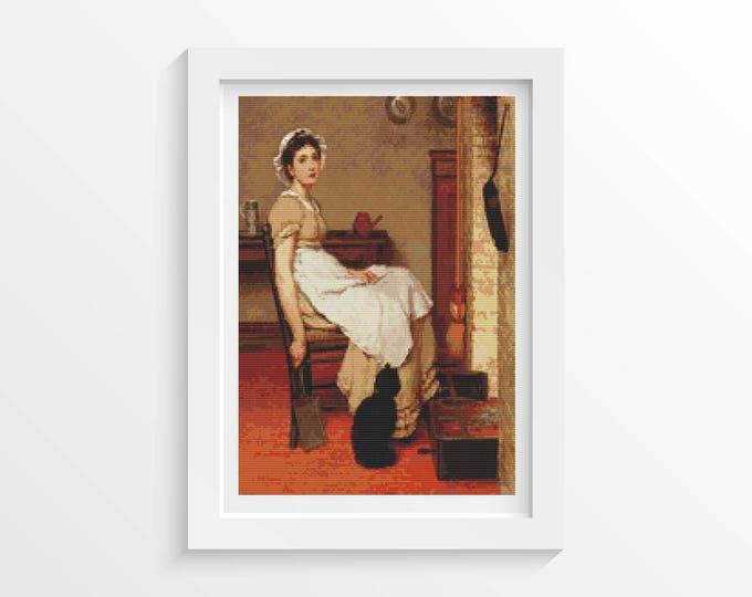 Cross Stitch Pattern PDF, Embroidery Chart, Art Cross Stitch, Woman Cross Stitch, Her First Place by G.D. Leslie (LESLI01)