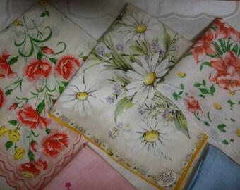Seven Vintage Handkerchiefs Hankies