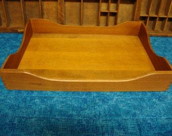 Vintage Dovetailed Wood Desk PaperTray