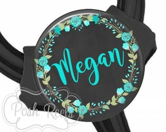 Teal Floral Littmann Cardiology Stethoscope ID Tag - Fits All Stethoscopes At The Yoke - Teal Floral Wreath Stethoscope ID Tag - 1545