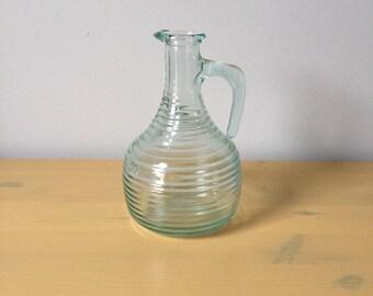 Vintage Aqua Glass Italian Pitcher