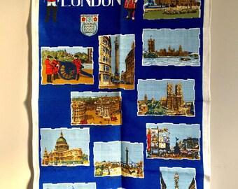"Vintage Irish Linen ""London"" Tea Towel"