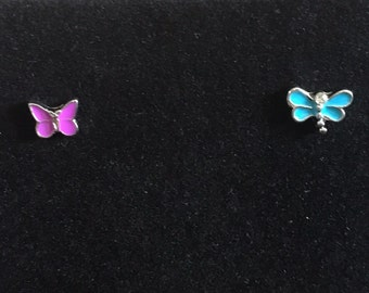 Mismatched Earrings - Butterfly and Dragonfly