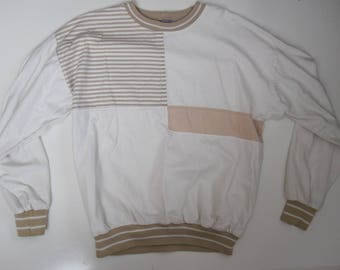 Vintage 100% Cotton Light weight Long Sleeve Sport SweatShirt Size Large