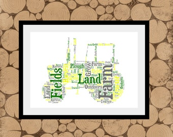 Tractor Word Art, Personalised Tractor Print, Tractor Word Cloud, Tractor Wordle, Gift For Farmer, Farm Themed Gift, Gift For Farm.