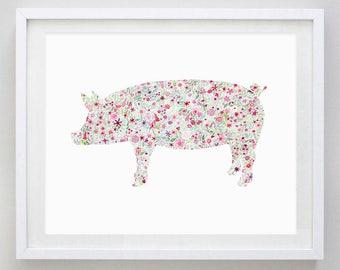 Pig Floral Watercolor Art Print