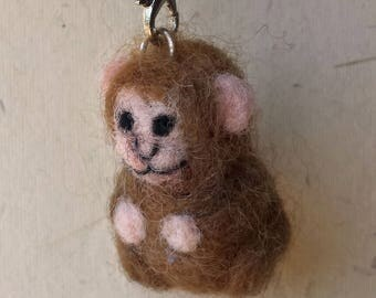 Monkey, needle felted, charm, ornament, macaque, Chinese zodiac