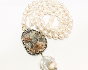 Freshwater Pearls and Chunky Pendant