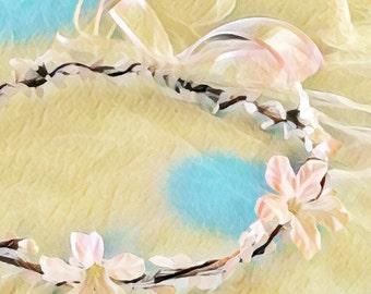 White Flower Bridal Crown-Wedding Hair- Hair Wreath-Bridal Headpiece-White Bridal Headpiece-Flower Girl Crown
