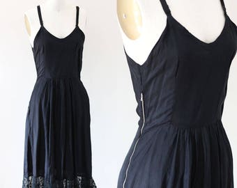 1940s black lace slip //  1940s slip dress // vintage lace slip