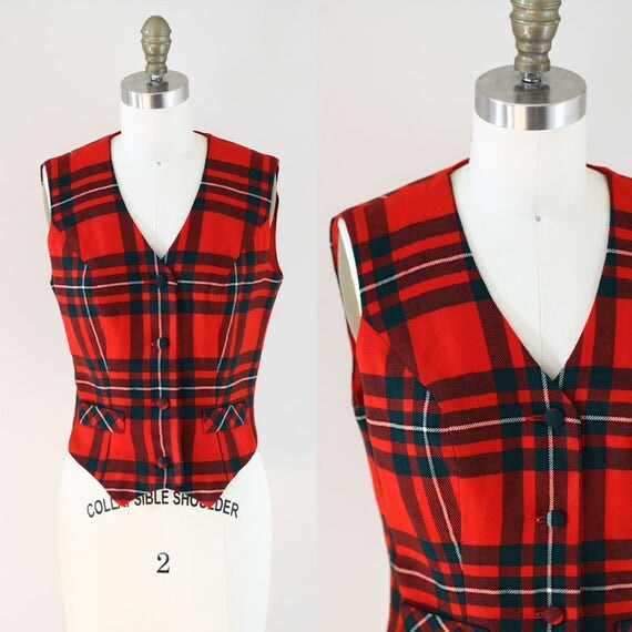 1970s red plaid wool vest // plaid vest // vintage vest