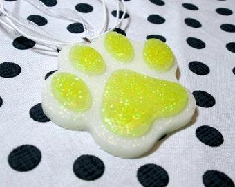 Yellow Paw Necklace, Cute Toe Beans, Glitter Resin Jewelry, Kawaii Statement Necklace, Furry Jewelry, Handmade Jewelry, Stocking Stuffer