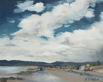 Bear Lake Beach Day-  Original oil painting on canvas by Lauriann Wakefield