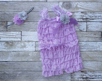 Lavender Embelished Lace Romper & Headband Set- First Birthday Outfit- Petti Romper- Cake Smash Outfit- Newborn Petti Romper- Headband