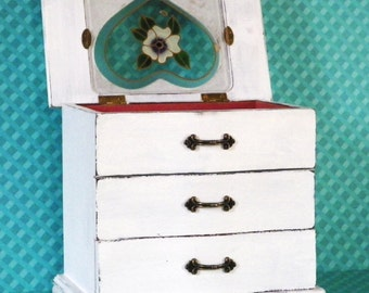 Shabby White Vintage Jewelry Box, Rustic Distressed, 2 Drawers, Stained Glass Top, Ring Holder, Upcycled Shabby Decor
