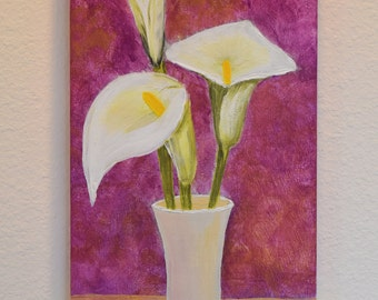 Calla Lilly Vase 10x20 original acrylic on canvas
