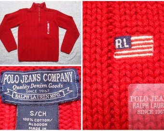 Vintage Retro Men's 90's Polo Jeans Co Ralph Lauren Sweater Red Flag Deadstock Turtle Neck Quarter Zip Hip Hop Streetwear Small