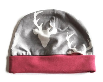 Grey Buck Newborn Beanie Hat - Baby Accessories - Baby Hat - Newborn Hat