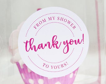 Thank You From My Shower to Yours - Bridal Shower Stickers - Baby Shower Stickers - Bridal Shower Tag - Baby Shower Tag - Favor Stickers