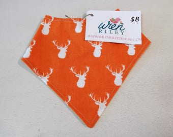 Orange Deer Infant Baby to Toddler Feeding Drool Bandana Bib-READY TO SHIP Wren Riley Designs-Free Shipping