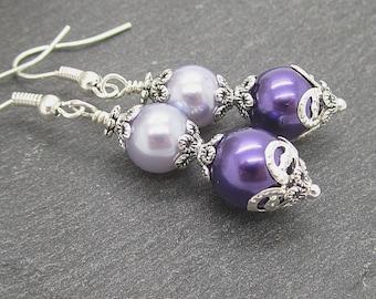 Purple Pearl Earrings, Bridesmaid Jewellery, Eggplant Wedding, Lapis Pearl Earrings, Bridal Party Gifts, Dark Purple and Lilac Wistseria Set