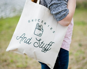 Tote Bag Canvas - Canvas Tote Bag - Groceries and Shit - Grocery Bag - Market Bag - Tote bag - Shopping Bag - Gift for Mom - Gift for Her