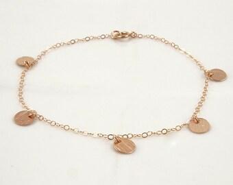 Rose Gold Disc Bracelet Dainty Bracelet Rose Gold Delicate Bracelet Layered Bracelet