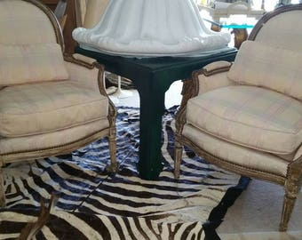 French FAT Pair Silk Upholstery Chairs Traditional Louis Style Down Fill Hollywood Regency Vintage 1940s Seating