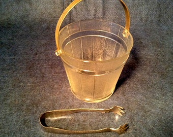 Vintage Mid-Century Glass Barrel Design Ice Bucket, Metal Handle, Ice Cube Claw Tongs