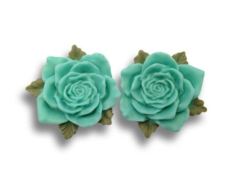 SALE Teal Vintage Rose Ear Plugs