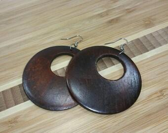 Brown Earrings - Brown Wooden Earrings - Brown Wood Earrings - Brown Dangle - Brown Circle Earrings - Africa Earrings Ethnic Earrings Brown