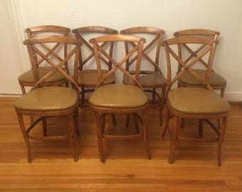 Set of 7 Project Austrian 1920-30's Bentwood Cane Cafe Chairs