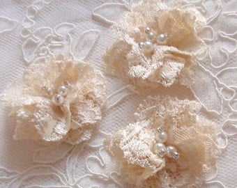 3 Lace Flowers With Rhinestone Pearl Fabric Flower Fabric Rose (1-3/4 inches)  MY-387-02 Ready To Ship