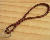 Leather Keychain Braided Kangaroo Leather - The Infinity Keychain - Whiskey Tan & Brandy Brown