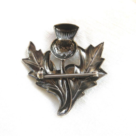 Scottish Thistle Brooch, Pink Crystal Stone, Symbol of Scotland, Vintage Thistle Pin