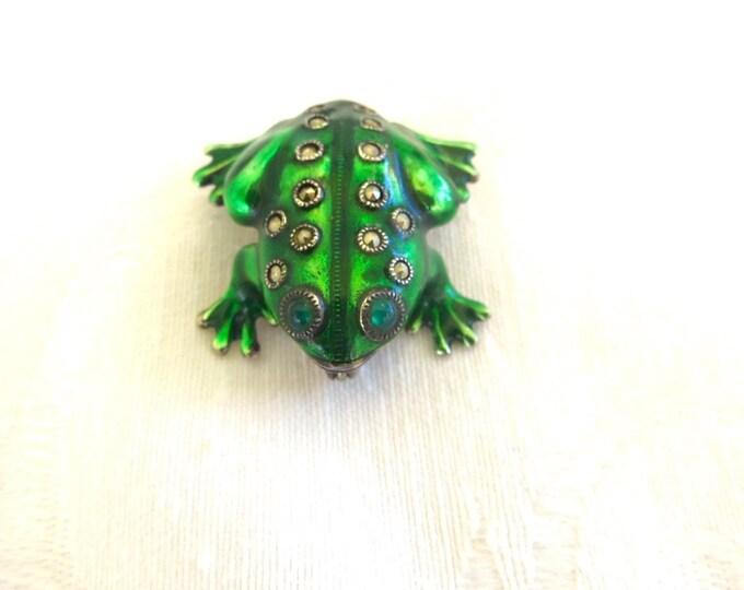 Sterling Frog Brooch, Enamel Marcasite Frog Pin, Vintage Frog Jewelry