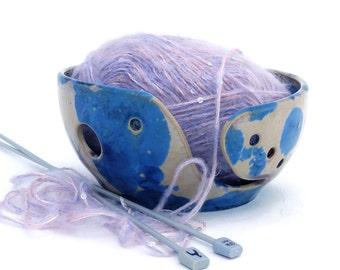 Crystal Glazed  Ceramic Crochet  Bowl Amber and Deep Blue